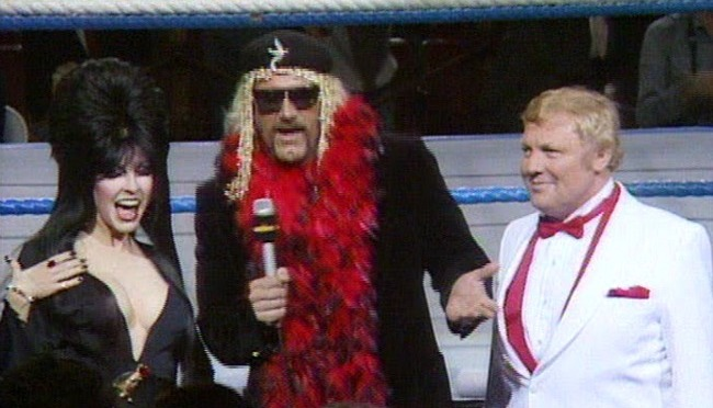 That Time Elvira Was a Guest Commenter at WrestleMania 2