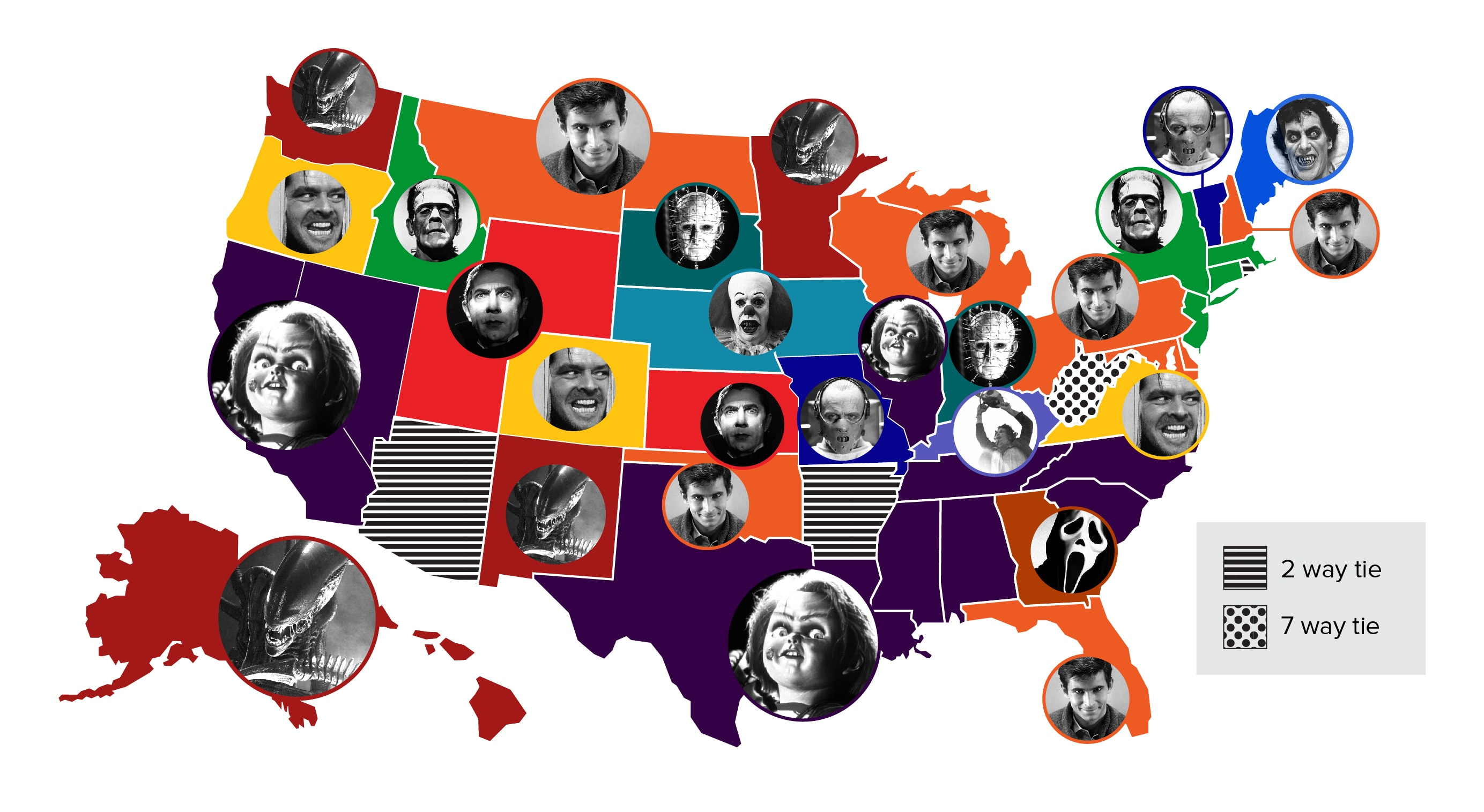 Check Out This Map Of Most Popular Horror Villians By State According To Google
